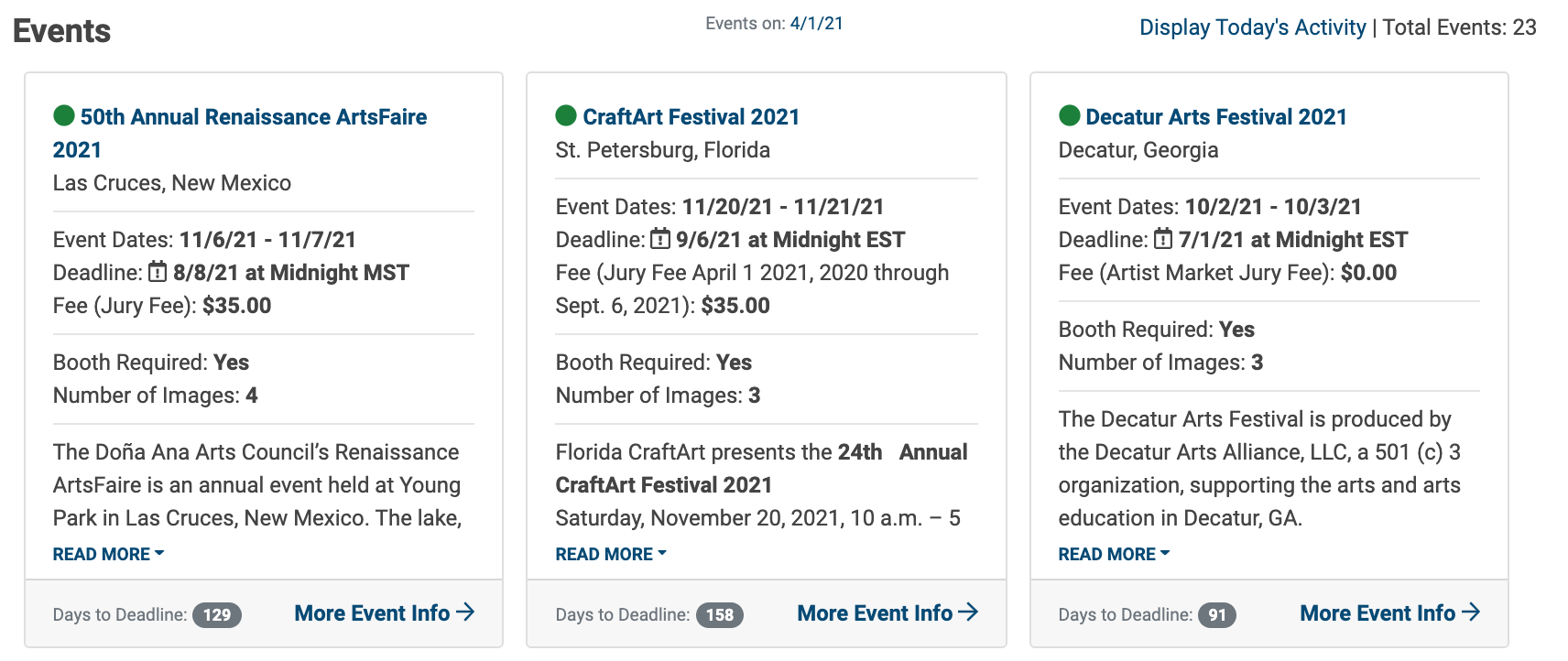 An image of the Event Cards below the Events Calendar. Three cards are shown.