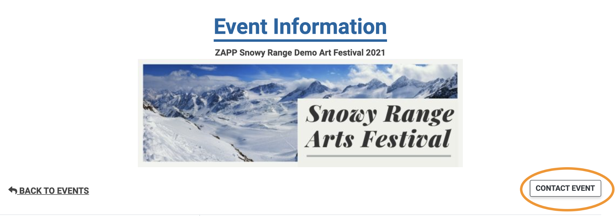 Image of the top of the Event Information page. The Contact Event button is circled.