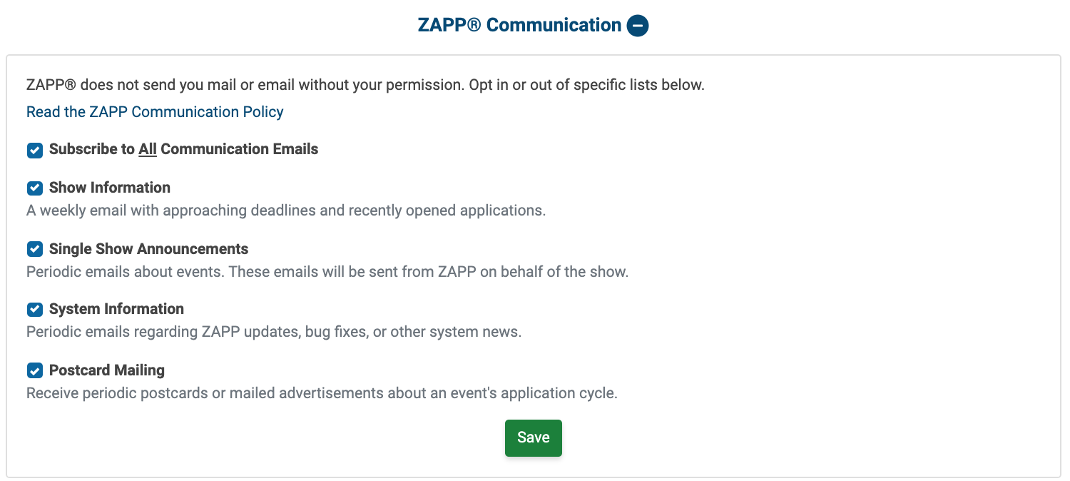 Image of the ZAPP Communication Opt In/Out section. All communications are opted in to.