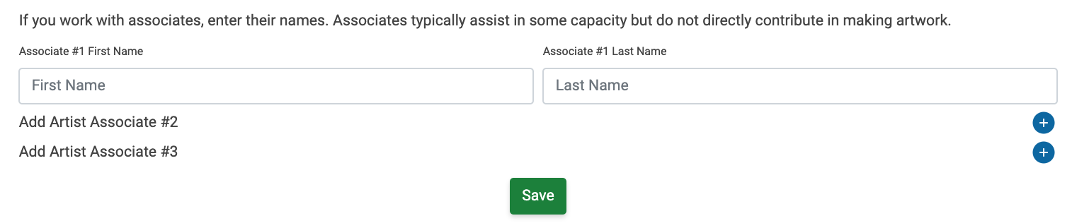 Image of the add associates section within the Teams and Associates section of the My Profile page. There are three slots for associates, the first shows a place to add an associate's first and last name.