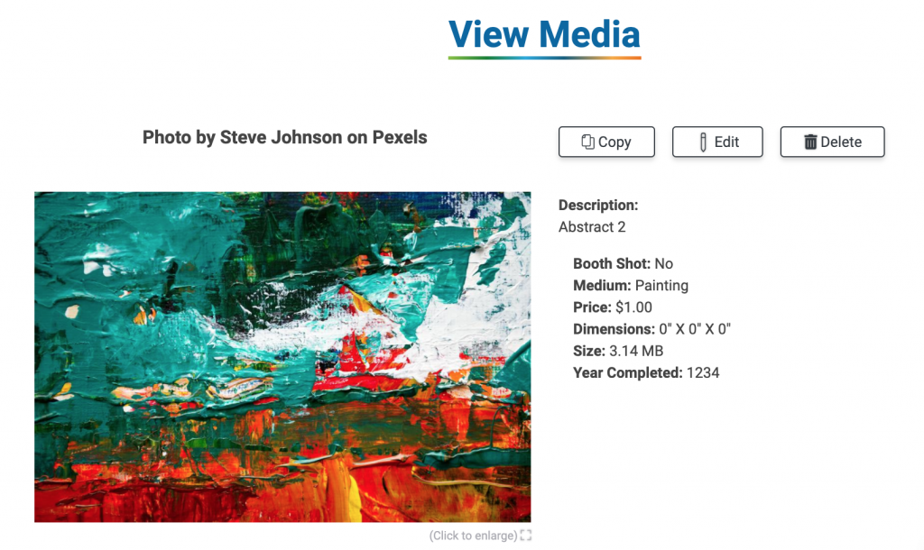 Image of the View Media page.