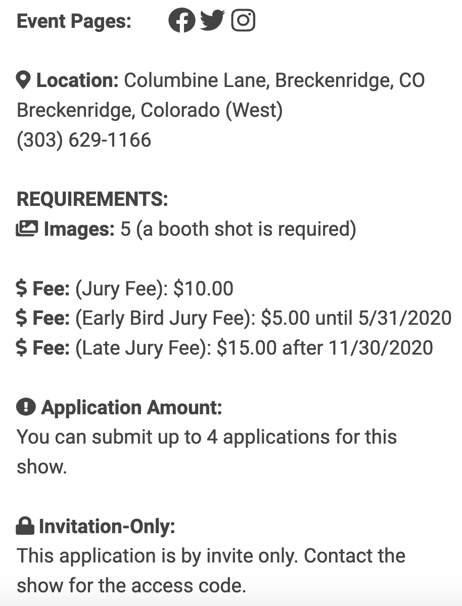 An image showing the basic event information for an event on ZAPP. This includes links to the event's social media pages, the event location, image requirement, jury fees, the number of applications that can be submitted per artists and whether or not the application is by invitation only.