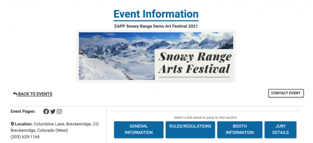 """The header for the Event Information page, showing the """"Contact Event"""" button as well as the buttons artists can use to jump to different sections within the event prospectus. These buttons are General Information, Rules and Regulations, Booth Information, and Jury Details"""