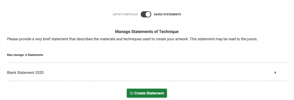 Image of the Manage Statements page. The toggle is set to Saved Statements.