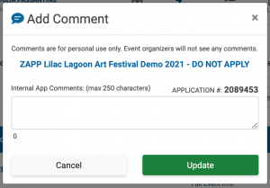 Image of the Add Comment popup. There is no text in the add comment box.