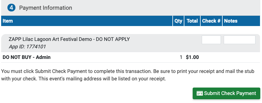 """Image of Step 4: Payment Information within the ZAPP Shop. Pay by check has been selected and there is a box to enter a check number and a green """"Submit Check Payment"""" button."""