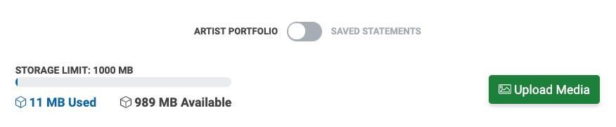 Image of the My Portfolio page. The toggle is set to Artist Portfolio.