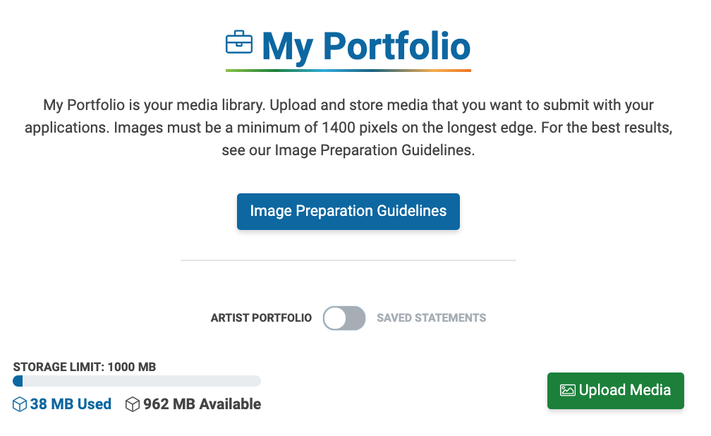 """Image of the My Portfolio page of ZAPP. It is toggled to Artist Portfolio and the button, """"Upload Media,"""" is visible."""