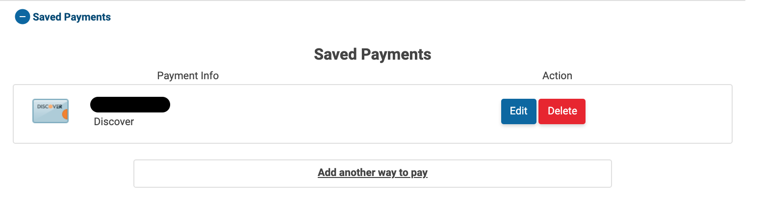 Image of the Saved Payments section of the Profile page. A card is added under saved payments and the options to Edit or Delete it are visible.