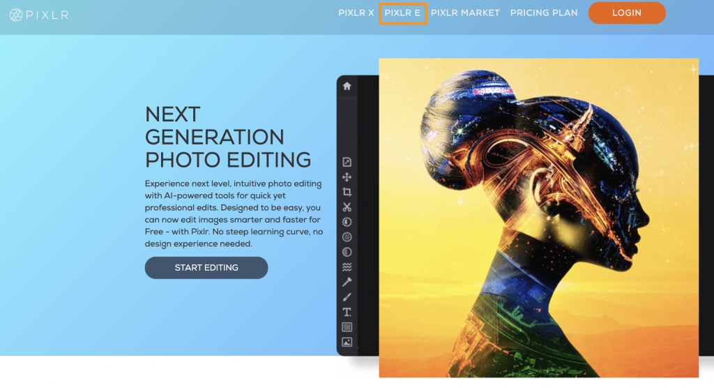 """Image showing Pixlr's home page. In the menu in the header, """"PIXLR E"""" is circled."""