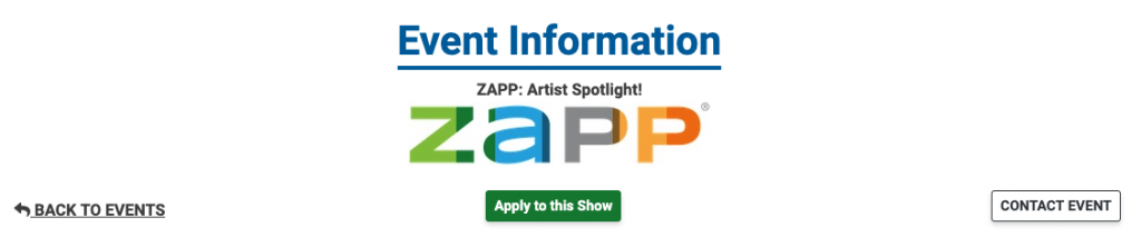 Image showing the header of an event on ZAPP. This image shows the Back to Shows link, the Apply to this Show button, and the Contact Event button.