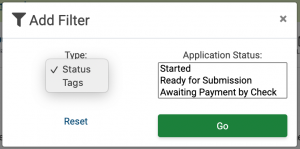 Image of the Add Filter popup on the My ZAPPlications page. The Filter is currently set to filter by Status but the Type drop down shows the option to choose to filter either by status or by tag.