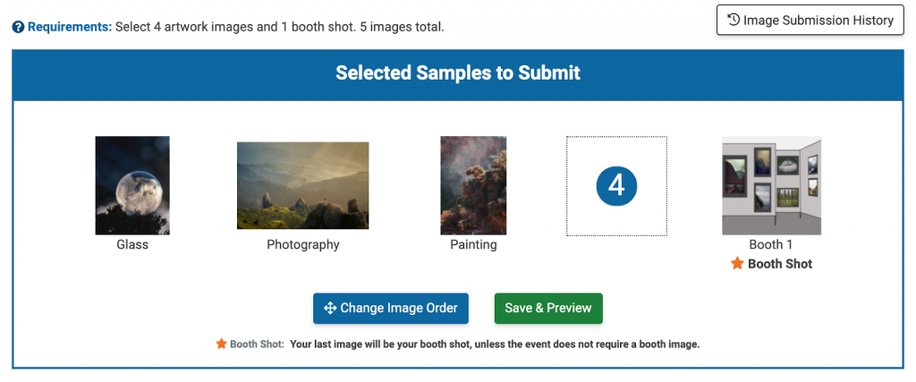Image showing the image selection portion of a ZAPP application. Three images have been selected to submit and one booth shot. There is one empty spot for a fourth artwork image to be attached. Underneath the images are two buttons: Change Image Order and Save & Preview.