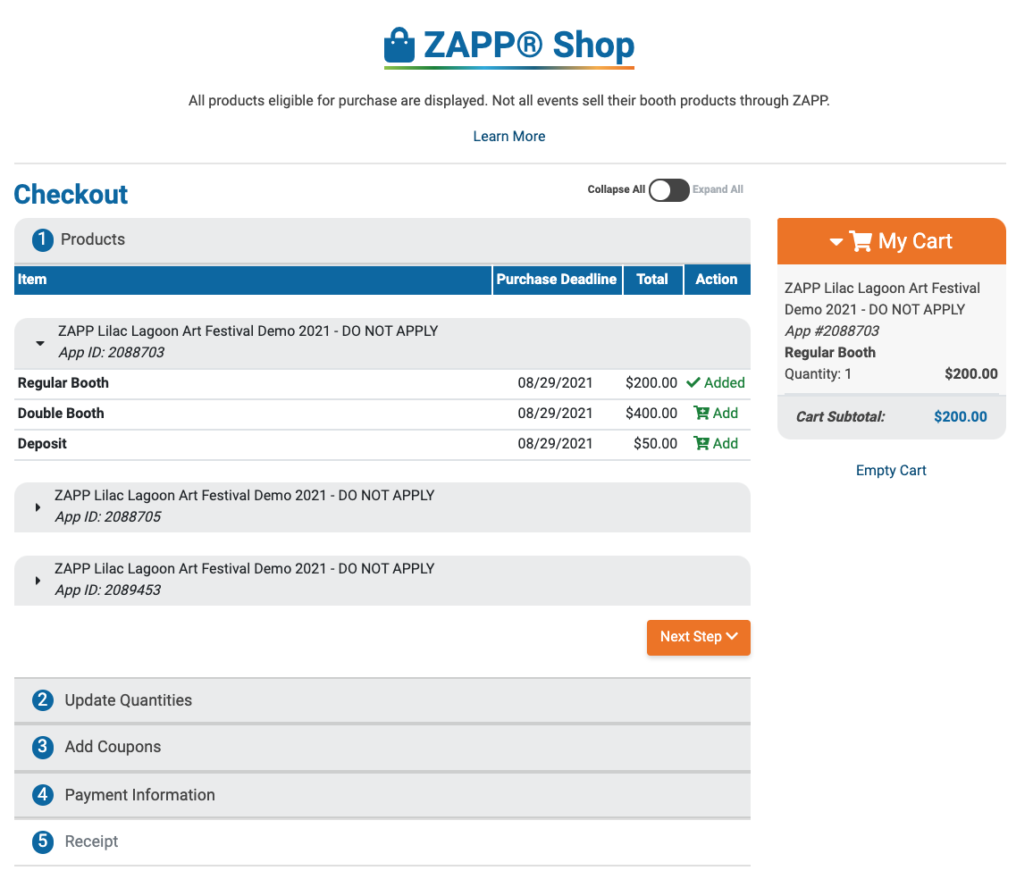 Image of the ZAPP Shop. The first step (Products) is open and a booth fee has been added to the cart.