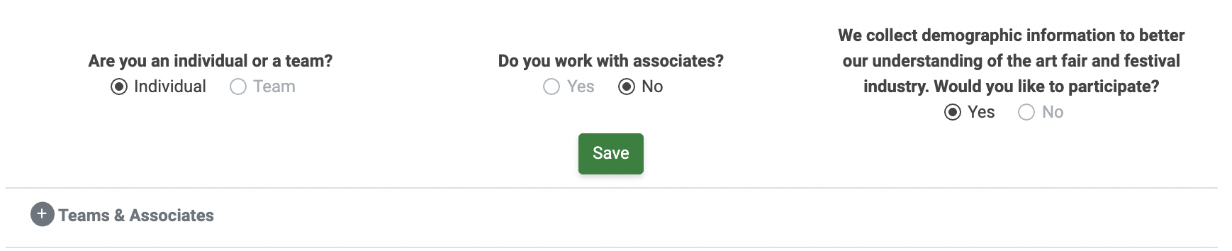 """An image of the last section of the Contact Information section. """"Are you an individual or team?"""" is set to """"Individual."""" """"Do you work with associates?"""" is set to """"No."""" and the account is opted in to providing demographic information."""